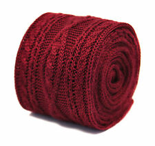 Frederick Thomas plain maroon knitted tie with cable knit design FT2213