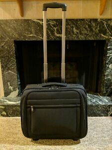 Brookstone Black Rolling Suitcase Luggage Overnight Bag Shoe Compartments