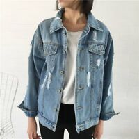NEW Fashion Women Casual Loose Fitting Washed Denim Ripped Jacket Jeans Coat Hot