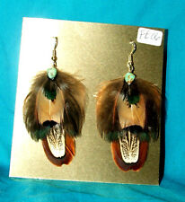 Pheasant Feather Earrings w Real Turquoise Stone Regalia FREE SHIPPING FE06