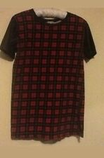 ladies river island red & black wet look leather check tunic top tshirt size 14