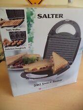Salter 3 en 1 tentempié Maker asar a la parrilla gofres rosquillas sándwiches dieta de adelgazamiento