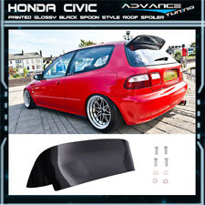 92-95 Honda Civic SPOON Duckbill Style 3Dr Roof Spoiler Painted Glossy Black ABS