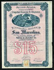 Mexico Mexican Minera Nazareno Anexas Temascaltepec Pesos Coups UNC Bond Accion