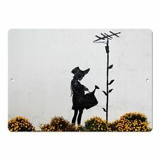 "Banksy Art Flower Aerial Mini 5"" x 7"" Metal Sign"