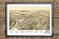 Old Map of Lancaster, NY from 1892 - Vintage New York Art, Historic Decor