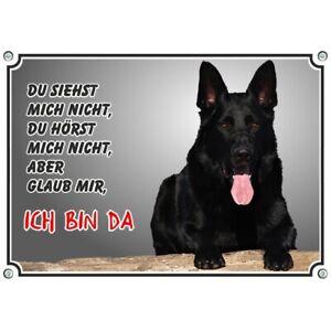 Hundeschild - schwarzer Deutscher Schäferhund  - wetterbeständiges Metallschild