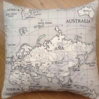 """New Fryetts Fabric Funky World Map Maps Grey Black Scatter Cushion Covers 16"""""""