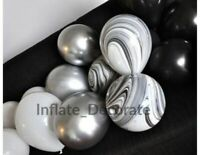 "10"" Metallic Balloons Chrome Wedding Birthday Party 12"" Marble Baloons Uk Seller"