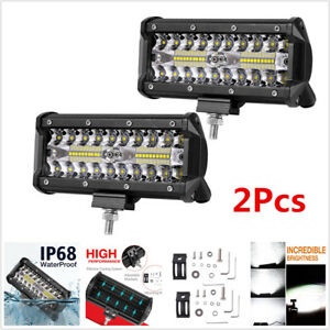 2x 6'' Cube 240W Off-road Lights LED Work Light Bar Spot Flood Driving Fog Light