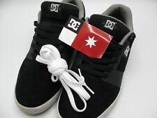 DC Men's Cole Lite 2 Sneakers Black Grey Leather Chris Skate Shoes + White Laces