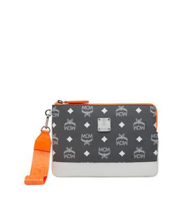 $350 MCM Gray Nylon Logo Resnick iPad Mini Case Wristlet Pouch mze9sra13fg001