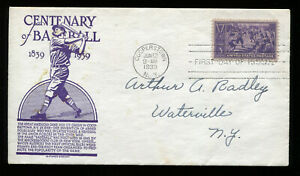 #855 3c Baseball Centennial FDC Planty #1 Anderson Cachet G688