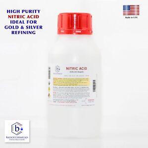 Bausch Nitric 70% Acid HNO3 1/2 Liter (17oz) Highest Purity Gold Silver Refining