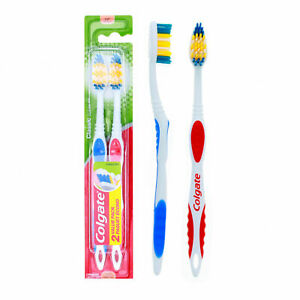 2Pack Colgate Classic Clean Toothbrush Combo with Tongue Cleaners Every Day Soft