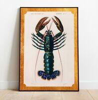 Vintage Lobster Print, Lobster Poster, Vintage Print,