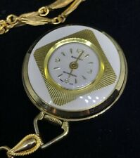 "Vintage SAXONY Pocket Watch Pendant Gold Embossed Swiss Works RARE! 24"" Neclace"