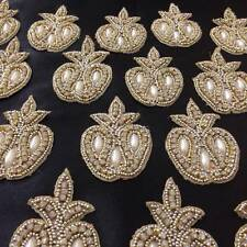 Pearl Gold Ivory Applique,Motif,edging,trim,sequins,beads (4.5 x 7cm Approx)