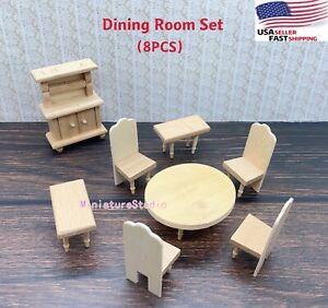 8PCS Dollhouse Miniature 1/24 Dining Room Unpainted Wooden Furniture Set Toy Dec