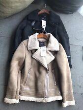 BNWT ZARA Contrasting Faux Suede Jacket Coat XS S M L Black Camel 6318/227