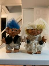 Vintage Bride and Groom Troll Dolls 80s Wedding Yellow & Blue Hair (S-1)
