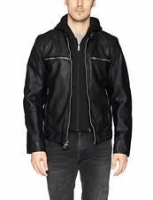 BNWT Guess Designer Mens faux leather Jacket Medium Black Detachable Hood Biker