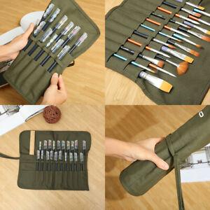 Artist Draw Paint Brush Holder Roll Up Canvas Bag Storage Case Organizer PouchYY