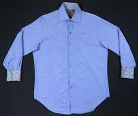 Robert Graham Blue Paisley Embroidered Flip Cuff Mens Long Sleeve Shirt M