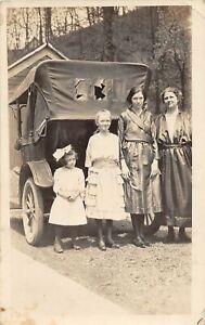 H65/ West Virginia RPPC Postcard c1920 Women Girls Automobile 30