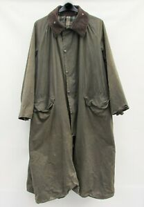 Barbour Burghley waxed riding coat jacket C46 / 117cm / XL Green Vintage