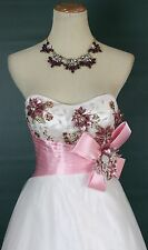 NWT Tony Bowls Size 4 White Pink Strapless Ball Gown Prom Formal $500 Dress Long