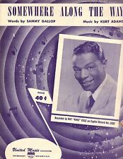 Nat King Cole Photo Sheet music cover ~ Somewhere Along the Way ~ Frameable
