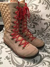 Dr. Scholls Radley Winter Boots Beige Red Quilted Suede Nice Womens 10M #340