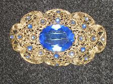 Vintage Czech Brass Filigree Sapphire Blue Rhinestones Trombone Clasp Brooch