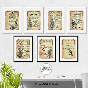Alice in Wonderland Quote Print Vintage Picture Prints Home Wall Art Size A4 A3