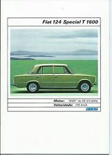 Fiat 124 Special T 1600 Spanish Language Catalog Brochure Prospekt Excellent
