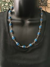 necklace women semi precious blue jade necklace with silver accents