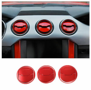 Fits Ford Mustang 15-2019 ABS Dashboard Air Vent Trim Cover Trim Red Accessories