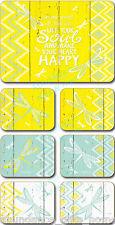 'Hello Yellow' Lisa Pollock Butterfly Cork Backed Coasters - Set/6 *NEW*