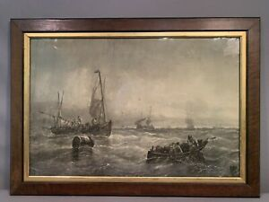 Antique NAUTICAL Watercolor SEASCAPE Old FISHING Fish Net BOAT Sailboat PAINTING