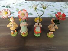 Vier alte Blumenkinder Holzfiguren WEHA Kunsthandwerk Erzgebirge