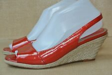 Cole Haan Womens 8.5 M Red Patent Leather Open Toe Slingback Wedge Heels NICE!