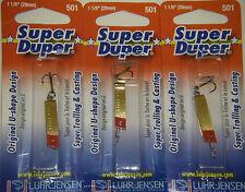 LUHR JENSEN SUPER DUPER TROUT FISHING LURES #1303-501-0131 BRASS REDHEAD 3 PK