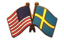 Sweden Friendship with US Flag Lapel Badge Pin