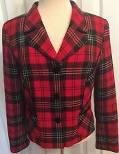 EUC Pendleton Women's Red Plaid Blazer Size  6  100% Virgin Wool Fully Lined