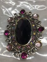 """Signed MONET Vintage Brooch Pin Purple Glass Rhinestone Jewelry Silver Plated 2"""""""