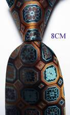 New Classic Checks Black Brown Blue JACQUARD WOVEN Silk Men's Tie Necktie