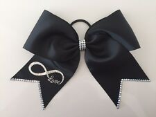 Large Black Diamonte Infinity Cheer Bow Hair Accessory Cheerleading Party NWT