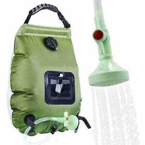 NEW 20L SOLAR POW ER SHOWER CAMPING WATER PORTABLE SUN COMPACT HEATED OUTDOOR