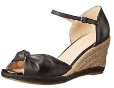 Nine West Women's Janelayne Leather Wedge Sandal 7.5 71/2 Black